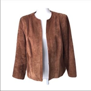 Trendy Suede Button Open Front Jacket